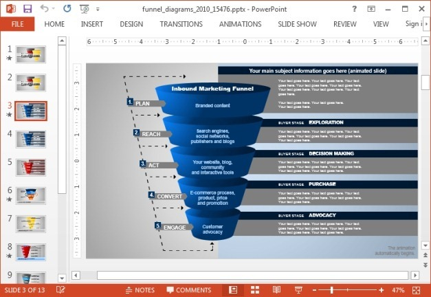 Animated Funnel Diagrams Template For Powerpoint
