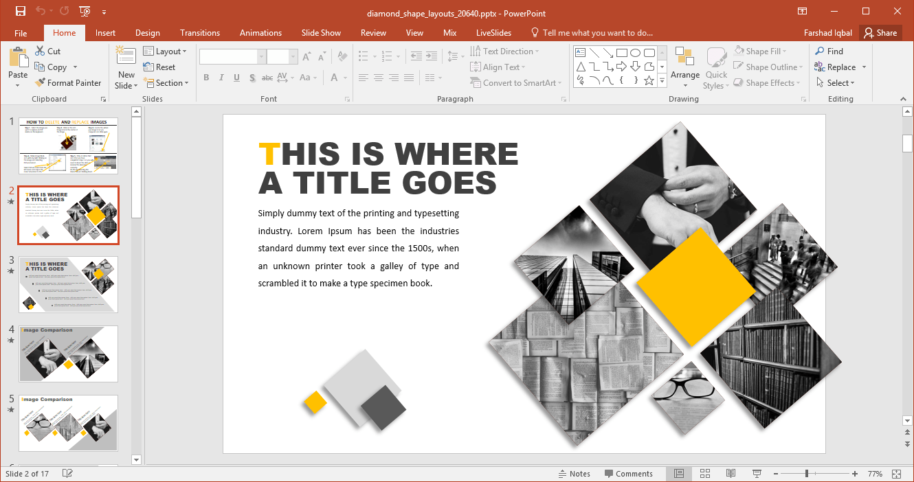 Animated Diamond Shapes PowerPoint Template