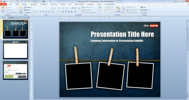Free Widescreen Peg Grunge PowerPoint Template 169 Free PowerPoint Templates