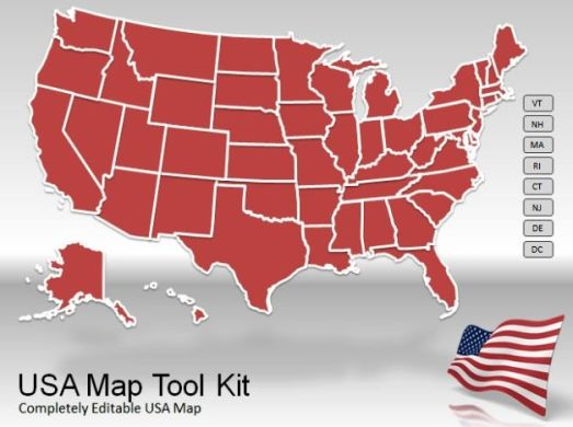 US Map PowerPoint Template usa map tool kit