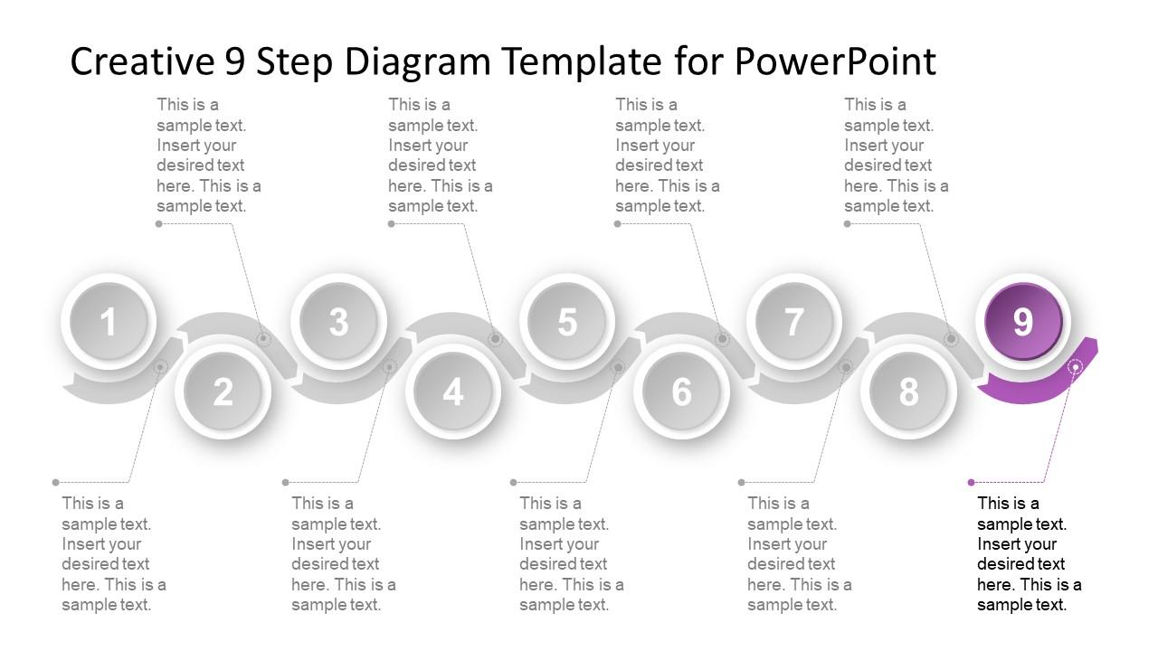 9 Steps Material Design Timeline Template Slidemodel