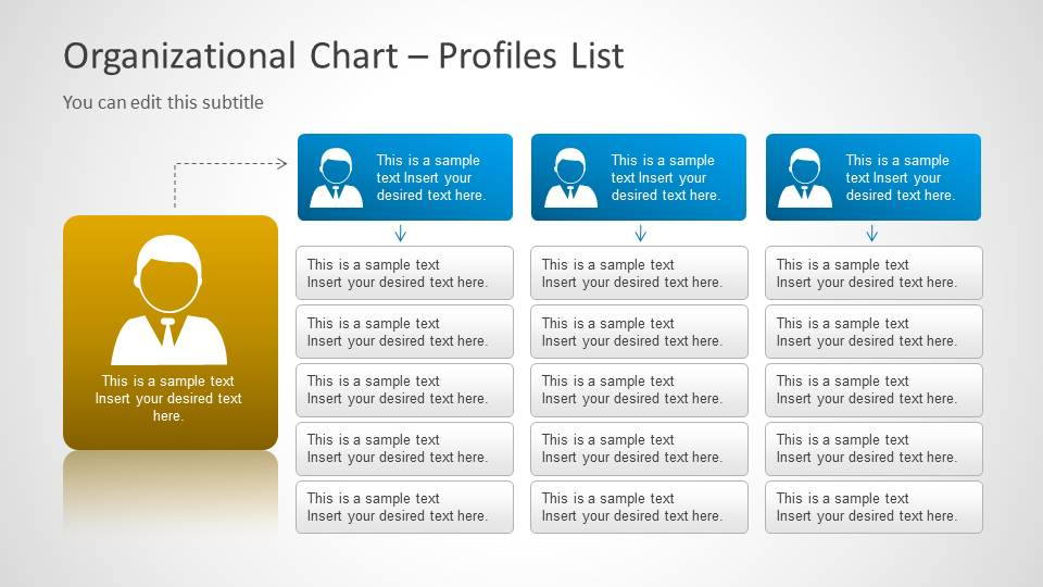 Multi Level Org Chart Template For Powerpoint With Avatar
