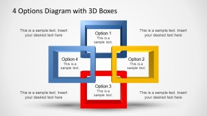Four 3D Quadrants Overlapping Boxes PowerPoint Diagram
