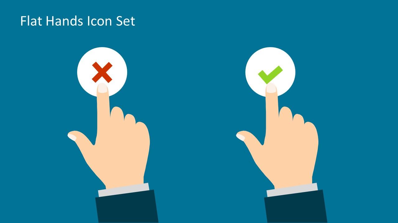 Flat Hands Icon Set For Powerpoint Slidemodel