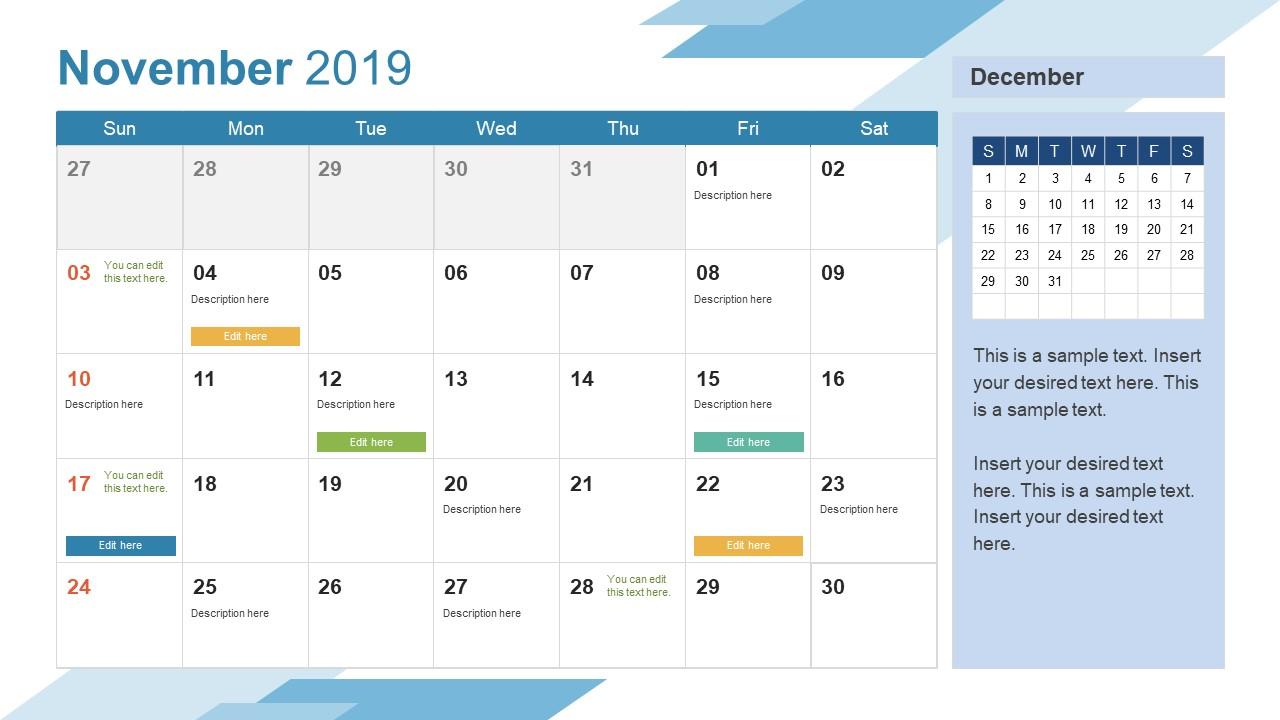 November Powerpoint Calendar 2019 Slidemodel