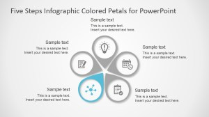Five Steps Infographic Colored Petals Free PowerPoint
