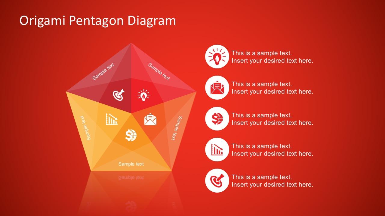 Free Origami Style Pentagon Powerpoint Diagram Slidemodel