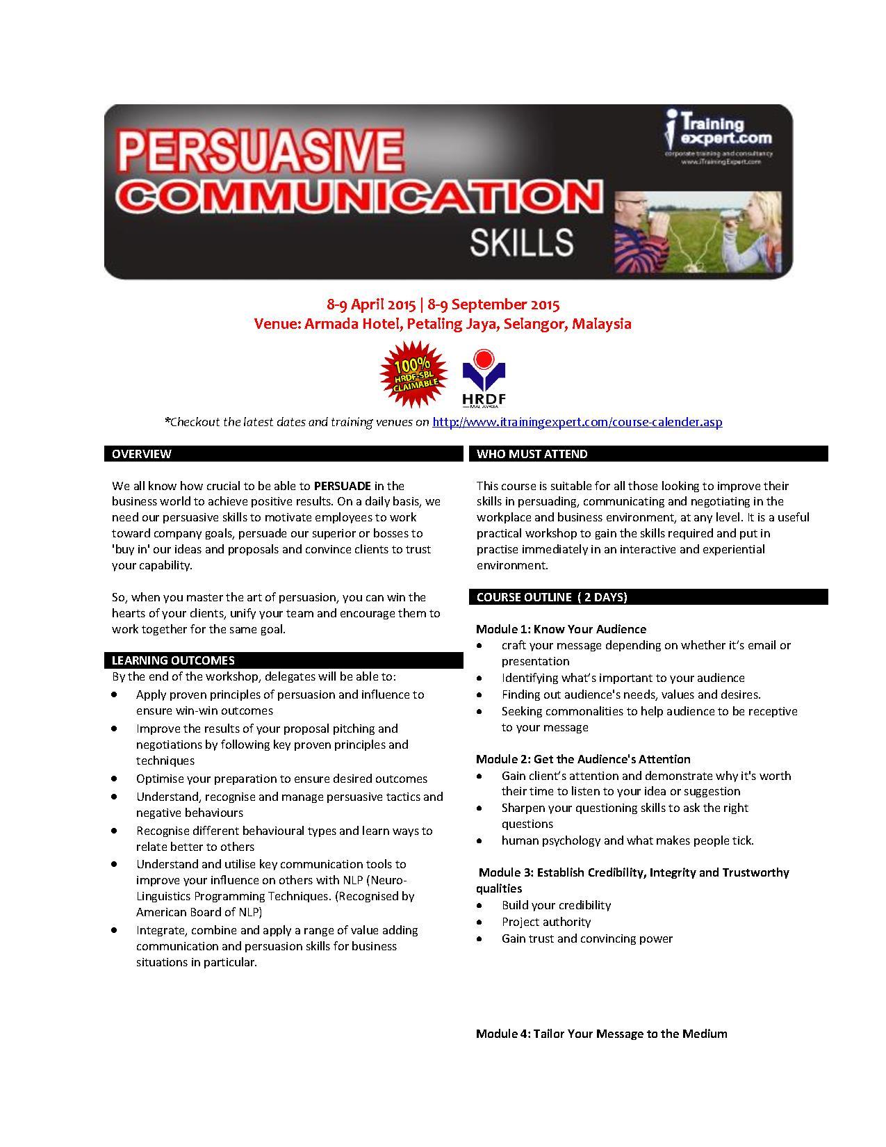 Persuasive Communication Skills Public Program By