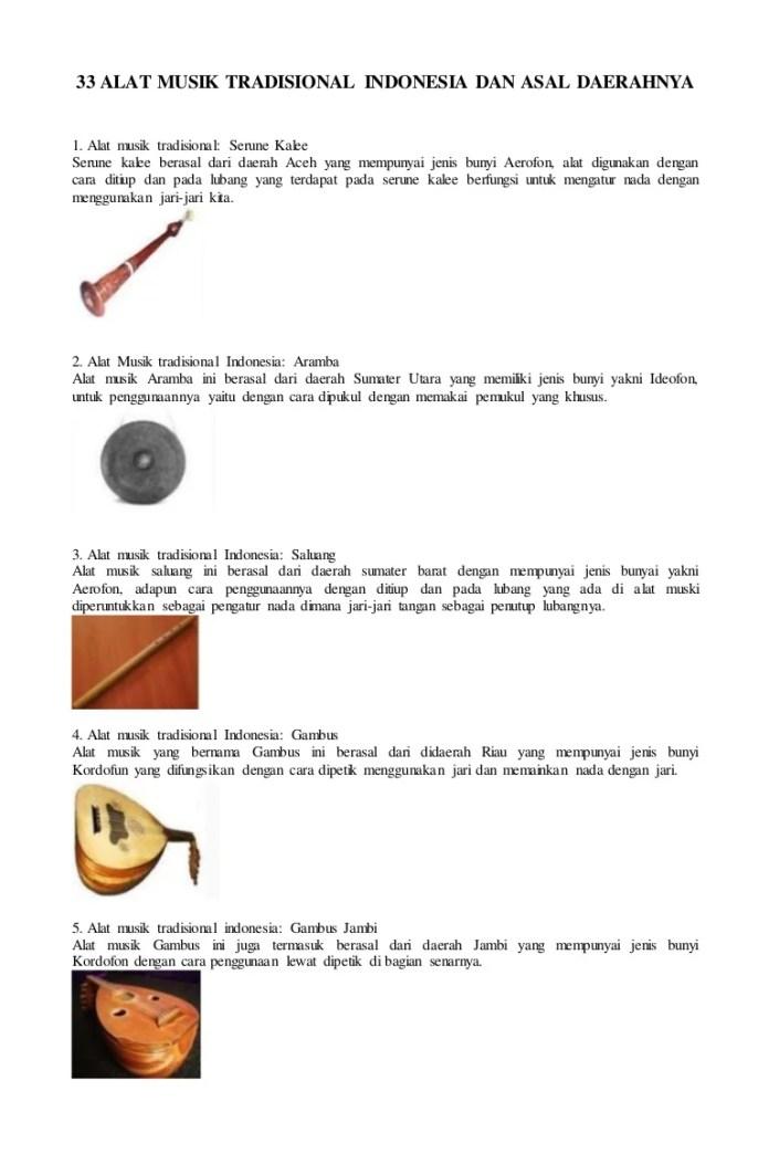 33 Alat Musik Tradisional Indonesia Dan Asal Daerahnya