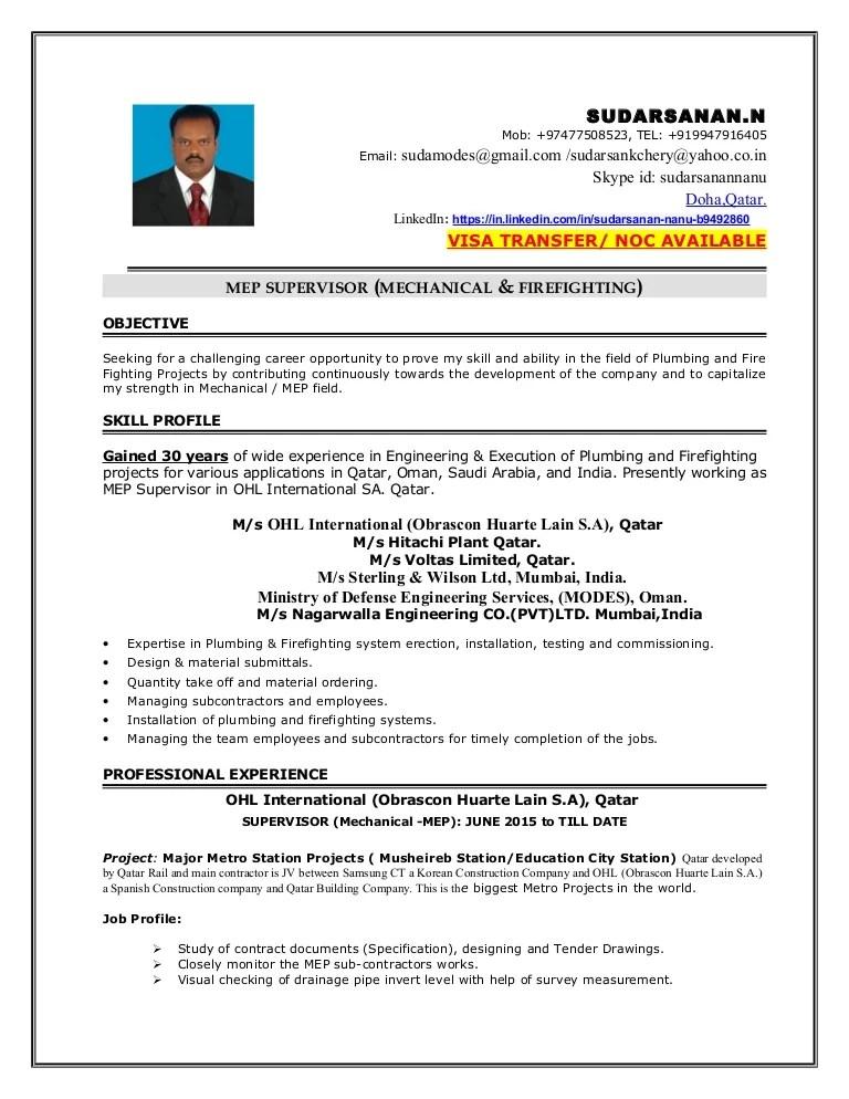 Mep Supervisor Sudarsanan