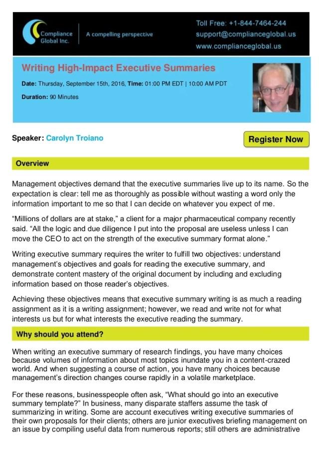 Writing High-Impact Executive Summaries - By Compliance Global Inc.