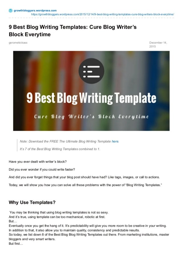 20 best blog writing templates