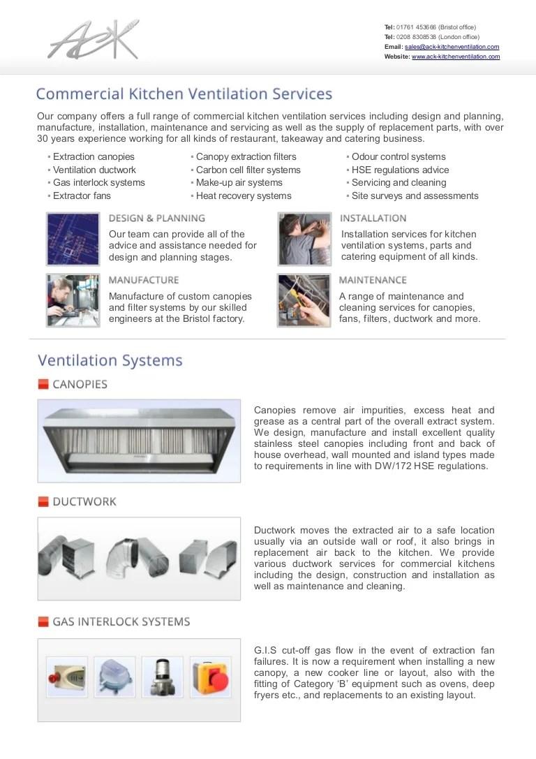 ack commercial kitchen ventilation services