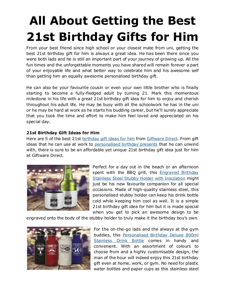 All About Getting The Best 21st Birthday Gifts For Him