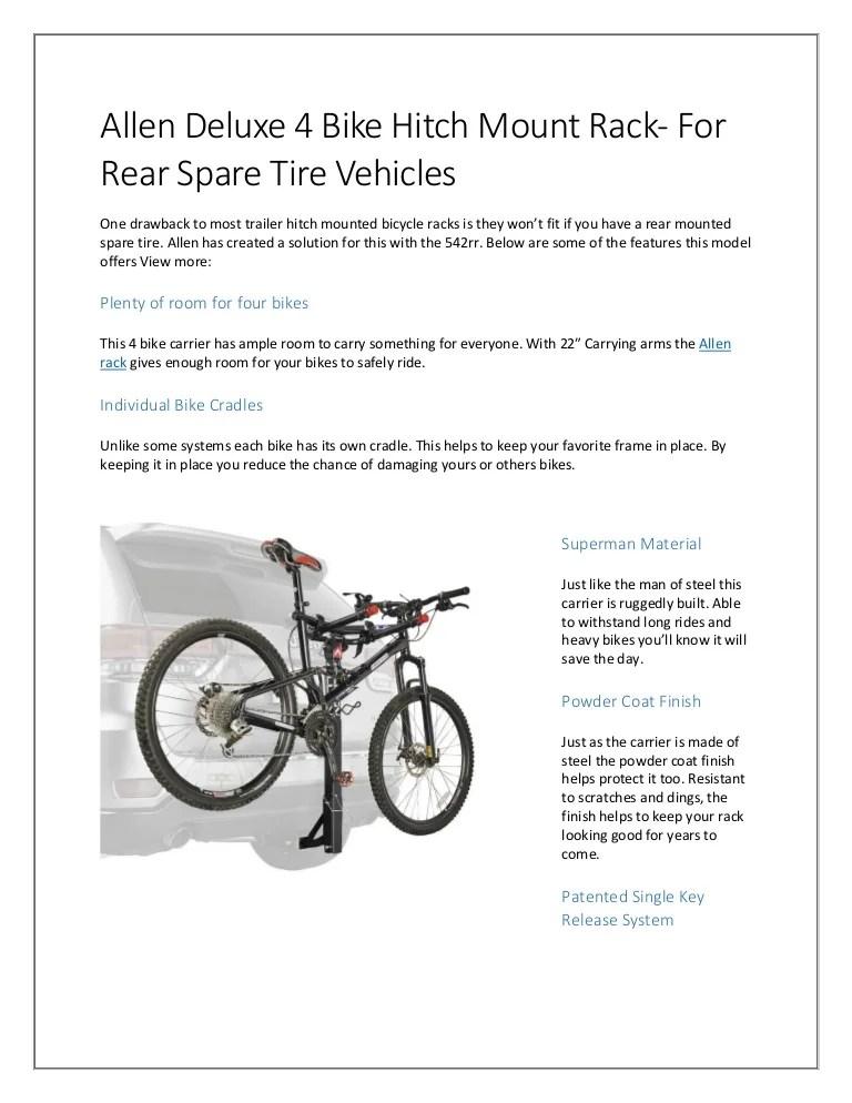 allen deluxe 4 bike hitch mount rack