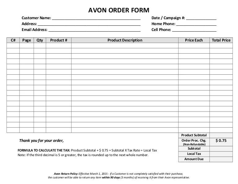 Avon Order Form Blank Word Version