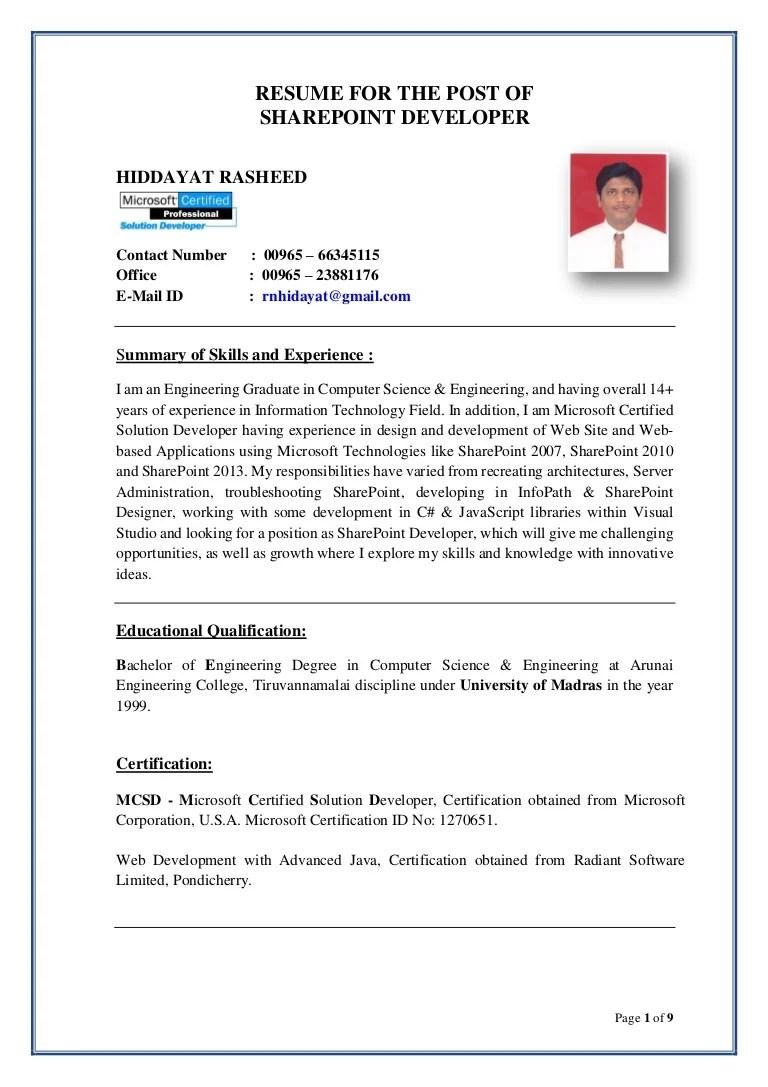 Hiddayat Resume Sharepoint Developer