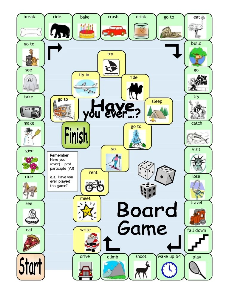 Board Game Haveyouever Present Perfect Tense
