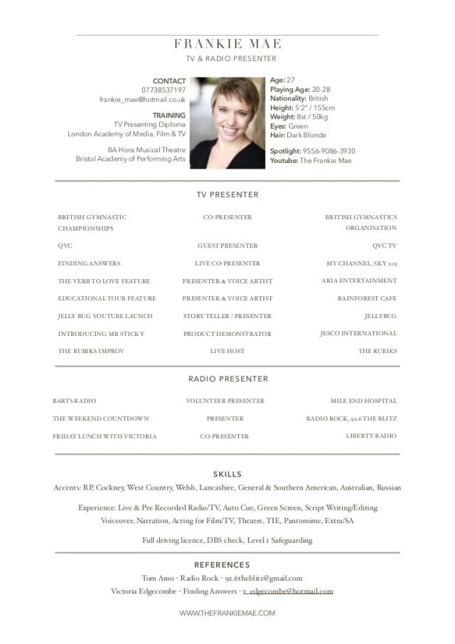 Frankie Mae Presenting CV