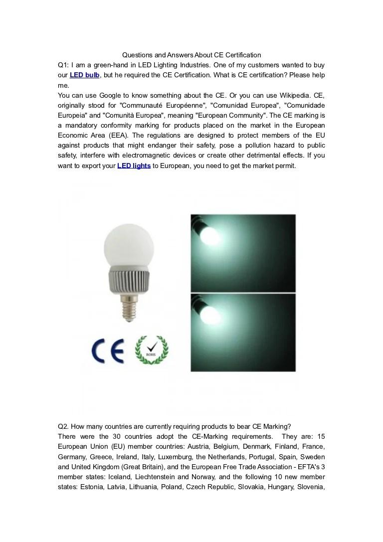 ce certificate of led bulb