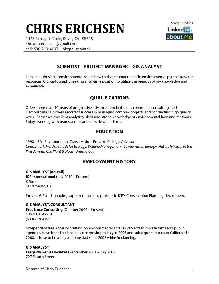 Gis Analyst Resume Sample Standard Resume Format Sample Civil