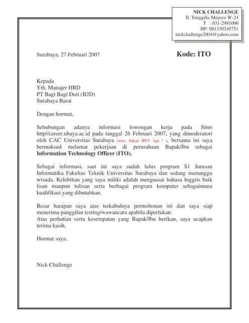 Contoh Surat Lamaran Wardah Download Kumpulan Gambar
