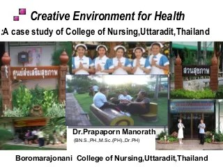 Creative environment for health at university of hanoi presentation by dr prapaporn