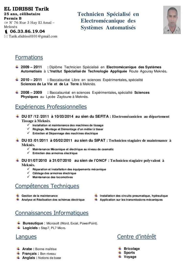 Cv Electromecanique