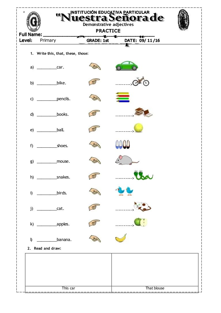 Exercises Grade Possessive Adjectives 5