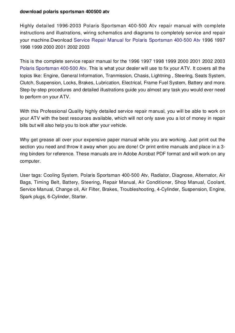 2000 Polaris Scrambler 500 Service Manual Pdf