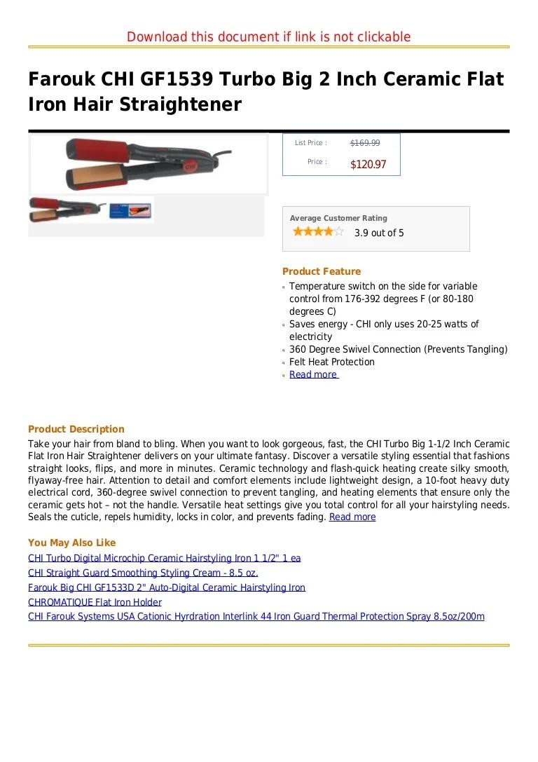 Farouk Chi Gf1539 Turbo Big 2 Inch Ceramic Flat Iron Hair