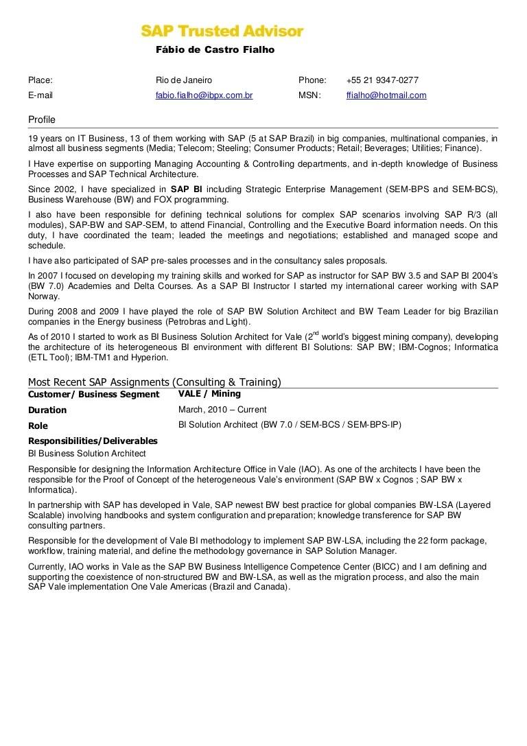 Sap abap consultant fresher resume