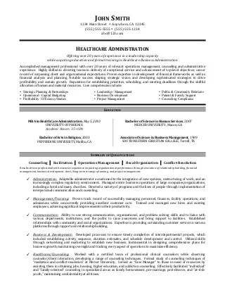 health care administration resumes template