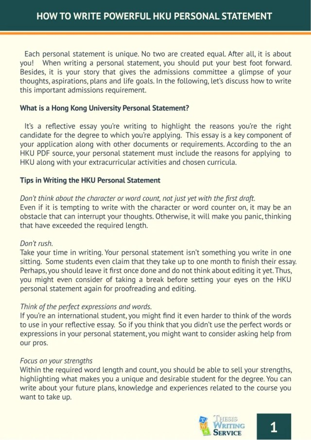 How to Write a Personal Statement for HKU