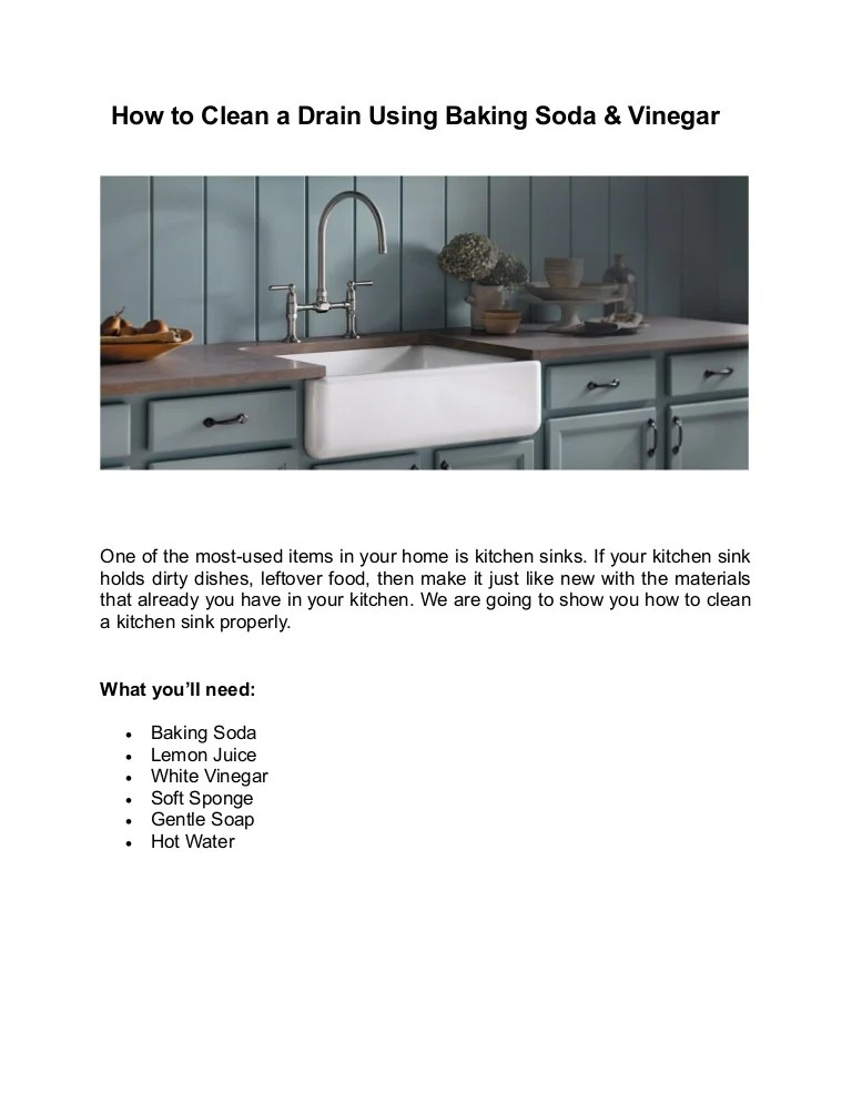 kitchen sink using baking soda and vinegar