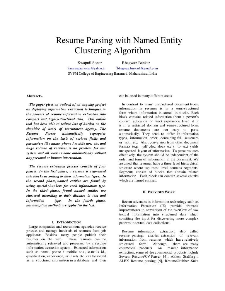 resume parsing with named entity clustering algorithm