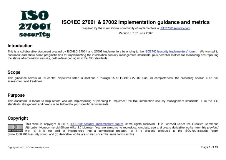 Security Policy 27001 Iso