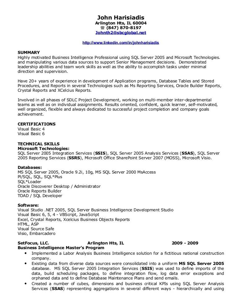 john harisiadis bi resume resume summary samples 14671754 sample
