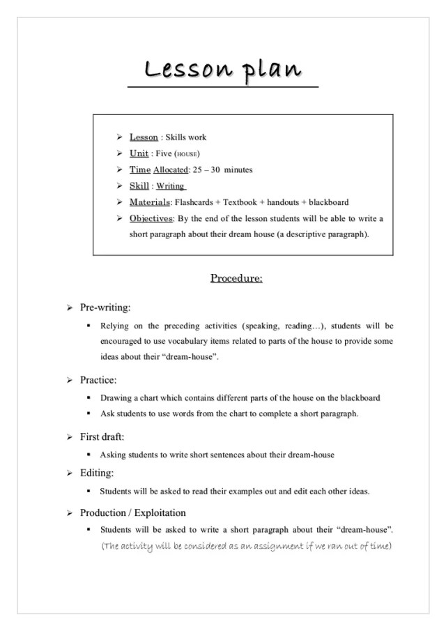 Lesson plan writing activity