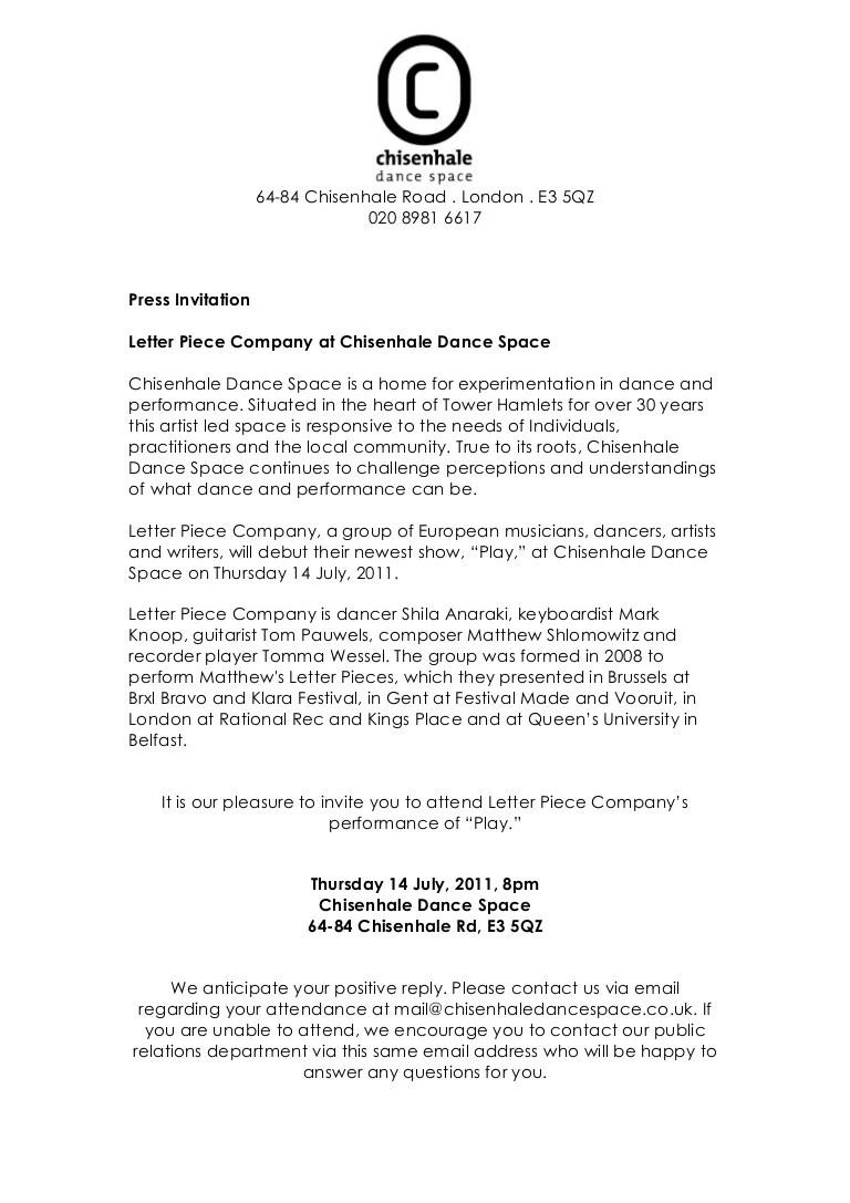 cds press invitation letter piece company