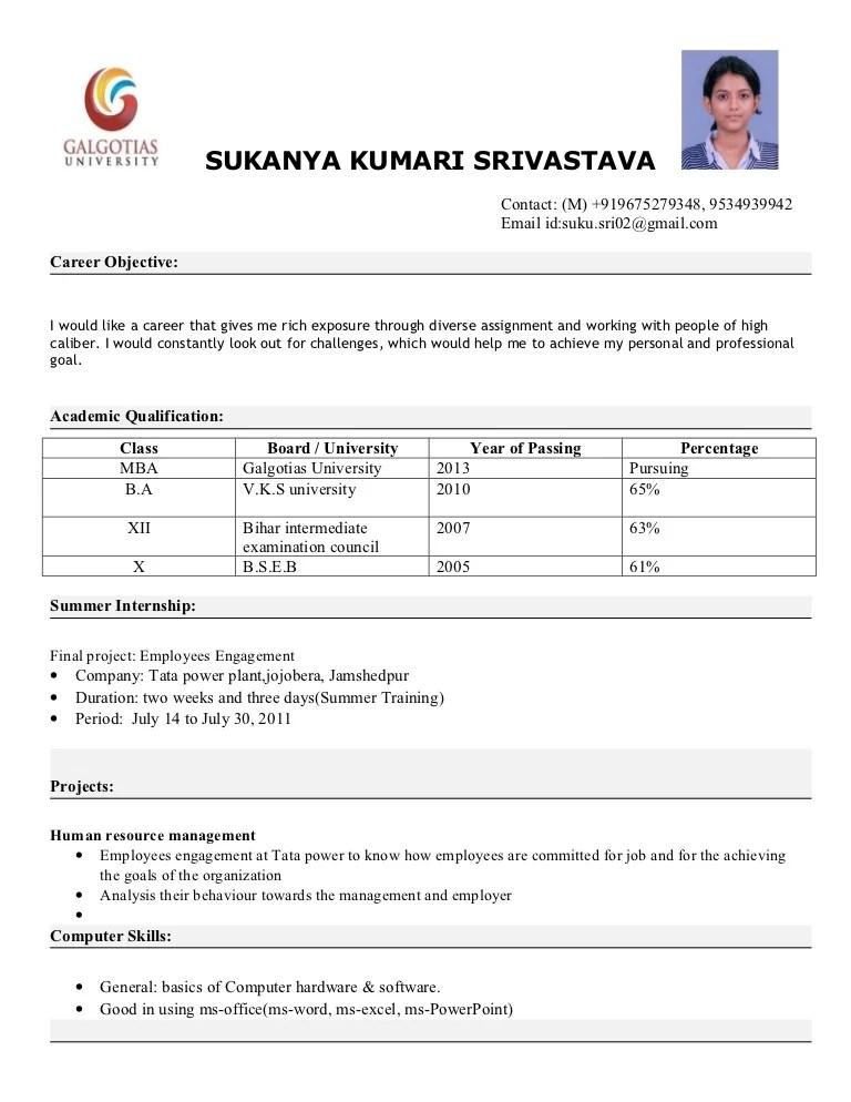 resume for mba students freshers abij