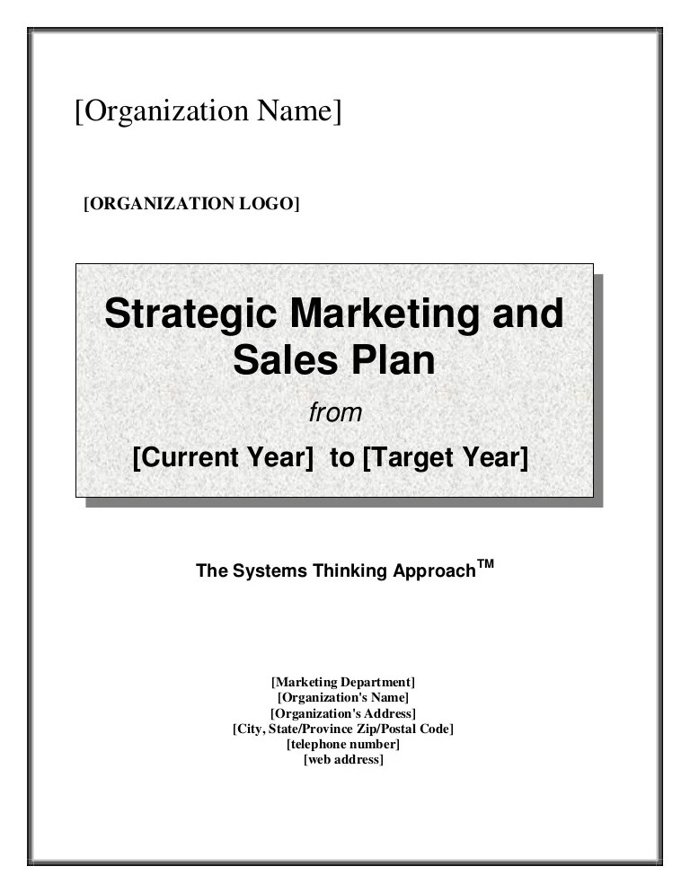 Part Marketing Business Sales Plan And Strategy Example