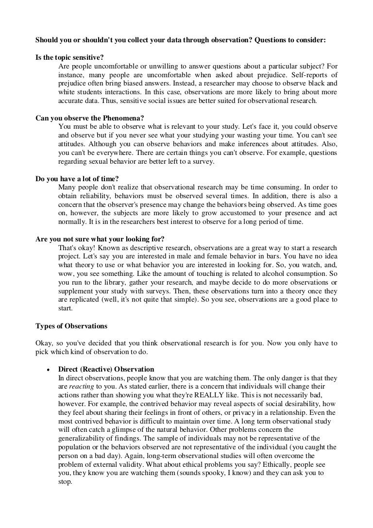 observation essay thesis