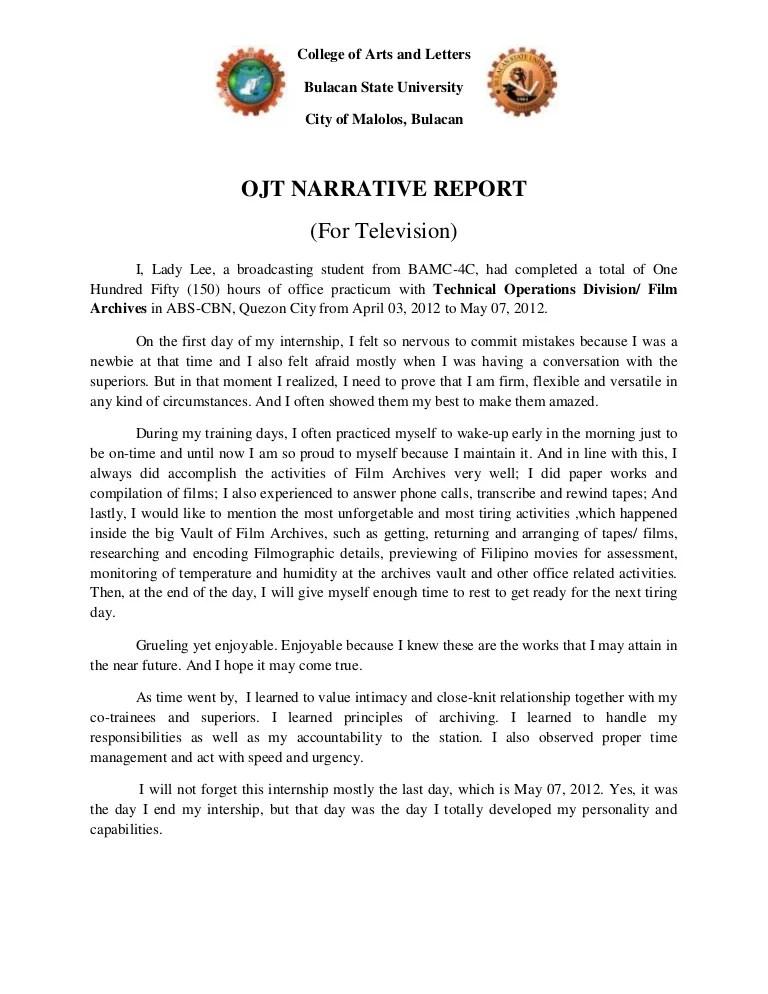Format Report Example Narrative