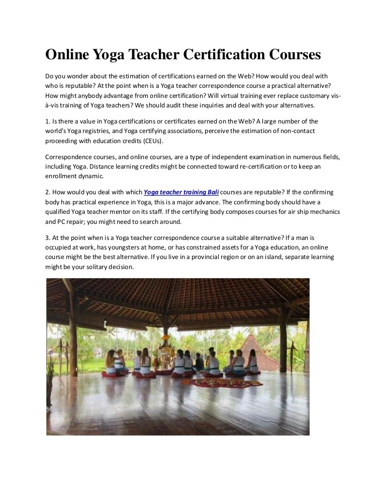 Online Yoga Teacher Certification Courses