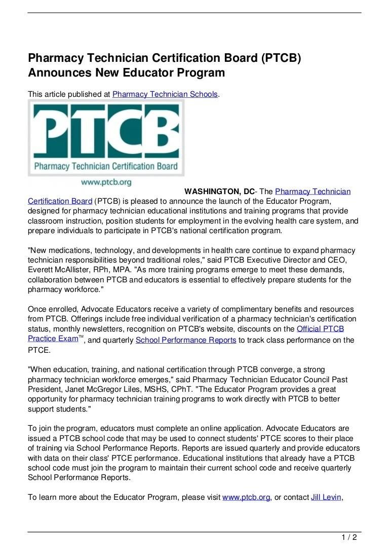 Pharmacy Technician Certification Board Ptcb Announces New