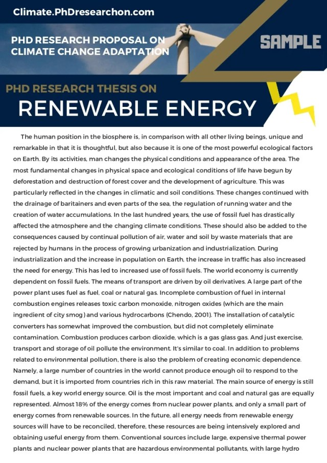 PhD Research Thesis on Renewable Energy Sample