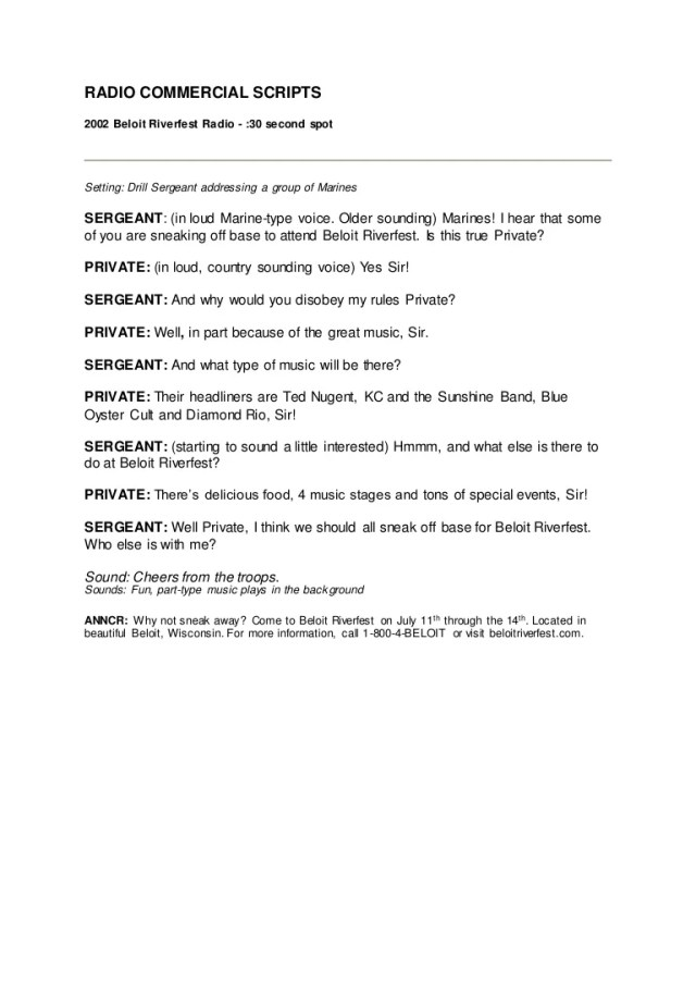 30 Second Radio Commercial Script Template - FREE DOWNLOAD