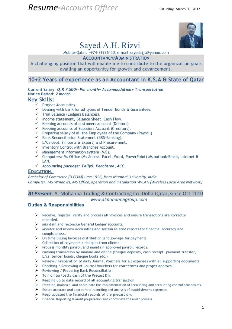 Resume Of Accountant In India Format. best accounting ...