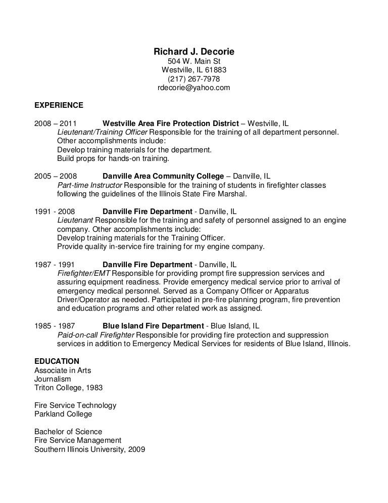 Wildland Firefighter Resume Sample Writing Workshops Cv